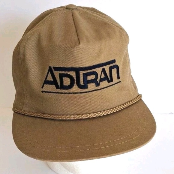 47cfe83121787 Competition Headwear Other - Vintage Adtran Strapback Rope Hat Baseball Cap  Tan